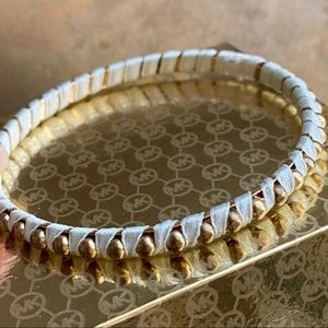 Anthropologie Gold Studded White Wrap Bangle Cuff
